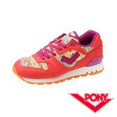 PONY  MARK8系列 女鞋 休閒慢跑鞋-橘紅X拼貼 54W1MK63RD