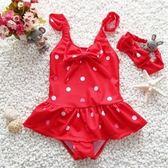 兒童泳衣連體女孩女童公主波點泳裝游泳衣