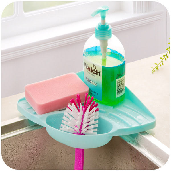 ♚MY COLOR♚廚房水槽三角瀝水置物架 洗碗海綿瀝水架 浴室吸盤肥皂架 流理臺置物架【S15】