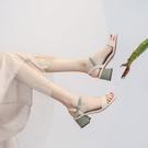 涼鞋 夏季新款百搭時裝中跟粗跟大碼女鞋配裙子仙女風高跟涼鞋女-Ballet朵朵