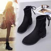 馬丁靴女短靴子秋款2018平底女靴中筒靴正韓百搭冬季加絨女鞋【巴黎世家】