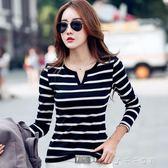 條紋t恤女春秋裝長袖修身顯瘦緊身上衣中長款黑色打底衫中秋節搶購