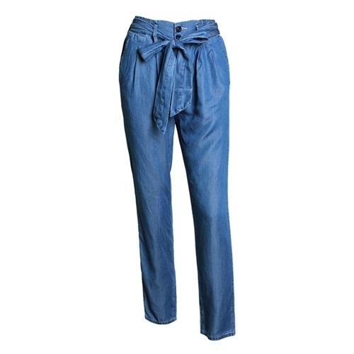 牛仔長褲-高腰闊腿綁帶薄款丹寧女褲子73ww20[巴黎精品]