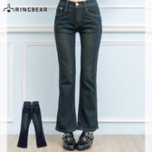 牛仔褲--絕對顯瘦素面側邊車線中腰小喇叭牛仔褲(S-7L)-N31眼圈熊中大尺碼