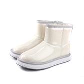 雪靴 短靴 保暖 防水 白色 亮面 女鞋 no122
