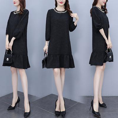 L-5XL長袖洋裝連身裙~大碼女裝胖mm連身裙氣質法式赫本風小黑裙R035-A愛尚布衣