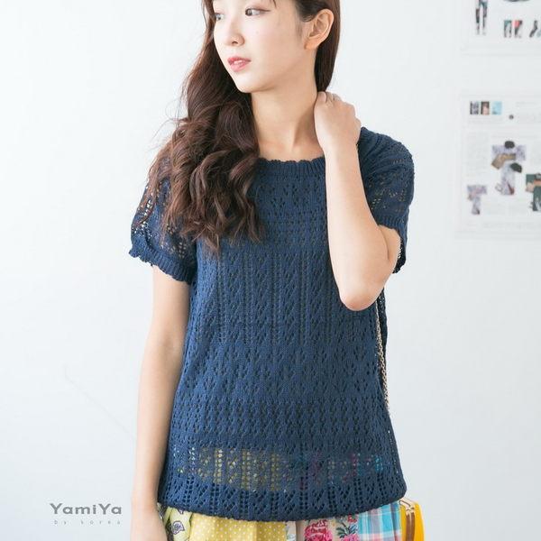V型簍空針織上衣-ONi STORE歐妮豆豆【418103】