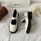 粗跟鞋 粗跟厚底白色小皮鞋女百搭復古英倫2021新款瑪麗珍jk單鞋子夏季薄