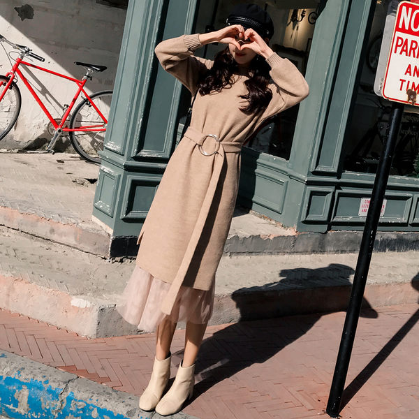 VK旗艦店 韓國風名媛毛衣裙過膝寬松針織套裝長袖裙裝