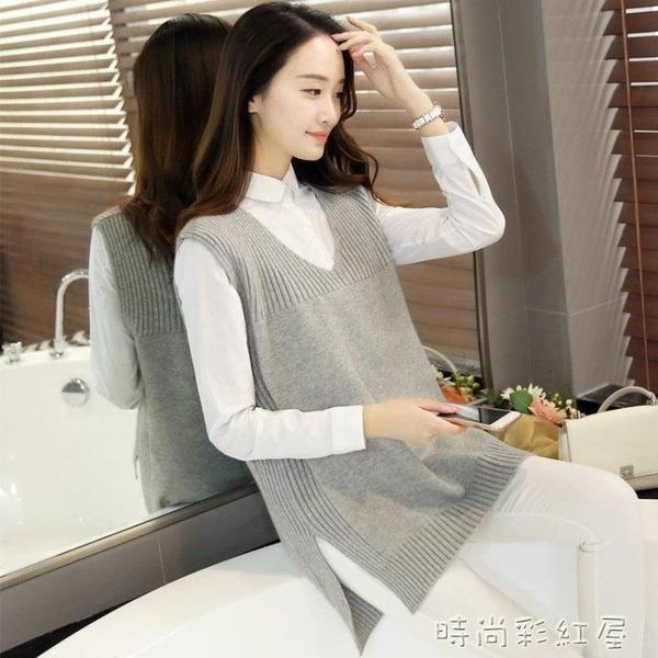 針織馬甲女背心春季外穿寬鬆毛線衣坎肩V領韓版女裝休閑打底馬夾 裝飾界