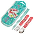 小禮堂 迪士尼 小美人魚 日製 滑蓋三件式餐具組 叉匙筷 兒童餐具 Ag+ (綠) 4973307-52404