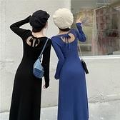 (下殺)chic輕熟風修身顯瘦中長版長袖針織連身裙女【08SG04802】