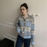 針織長袖 秋裝年女韓版幾何圖案寬鬆顯瘦慵懶毛衣復古開衫外套上衣 韓流時裳