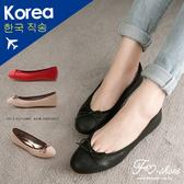 包鞋.素雅壓紋質感朵結娃娃鞋-FM時尚美鞋-韓國精選.firefly