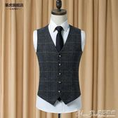 馬甲新款時尚韓版修身潮流西裝馬甲男英倫風休閒格子馬甲 曼莎時尚