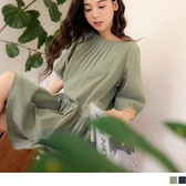 OB嚴選《AB2059-》高含棉領打褶傘襬五分澎袖洋裝上衣