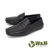 【南紡購物中心】W&M(男) 經典皮飾內增高莫卡辛 樂福鞋 開車鞋 男鞋 -黑(另有棕)