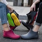夏季雨鞋女短筒雨靴防水鞋男水靴低筒防滑廚房買菜釣魚鞋 color shop