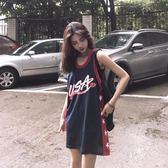 無袖背心 背心女外穿潮原宿bf風籃球服韓版寬鬆中長款無袖t恤上衣    沸點奇跡