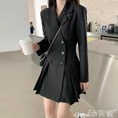小黑裙 西裝連身裙女裝春秋季冬2021新款黑色收腰顯瘦小黑裙長袖氣質裙子 小天使