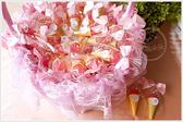 幸福朵朵【草莓甜筒冰淇淋軟糖x100份+大提籃x1個】-二次進場/送客喜糖/情人節/婚禮小物