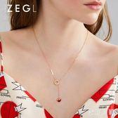 草莓鎖骨鍊女氣質輕奢項鍊愛心吊墜鈦鋼飾品 FF1400【衣好月圓】