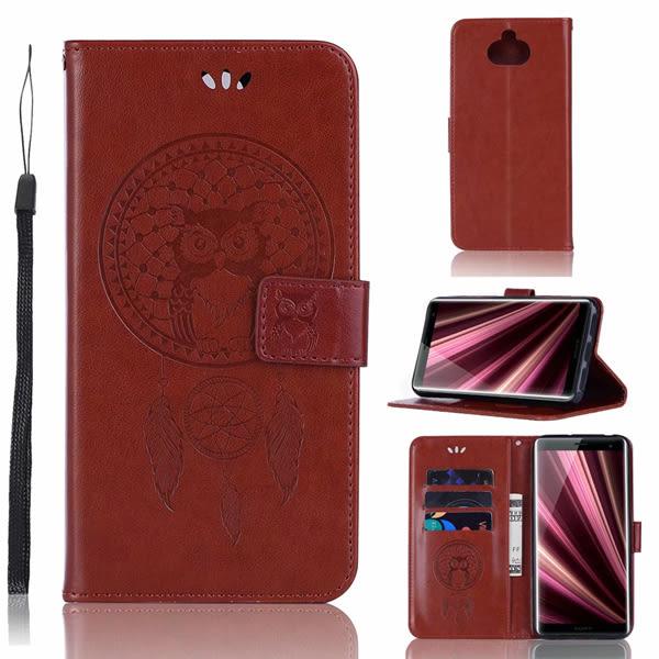 SONY Xperia10Plus Xperia10 貓頭鷹風鈴 手機皮套 插卡 支架 磁扣 可掛繩 防摔 內軟殼 壓紋皮套