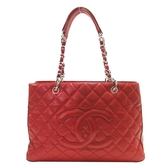 CHANEL 香奈兒 紅色荔枝紋牛皮銀鍊肩背豆腐包 GST Grand Shopping Tote 【BRAND OFF】