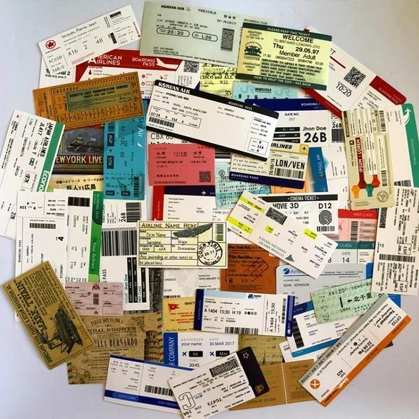 55張復古登機牌行李箱貼紙車票船票旅行紀念標簽郵戳貼畫拉桿箱貼