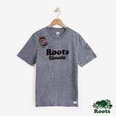男裝ROOTS 補丁短袖T恤-藍色