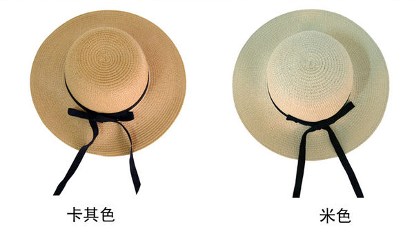 時尚夏日遮陽草帽 可折疊沙灘遮陽帽4