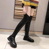 膝上靴 靴子女2020春秋季新款顯瘦過膝長靴平底厚底英倫風高筒長筒靴
