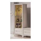【森可家居】瑪奇朵2尺展示櫃 7ZX374-3 客廳收納 玻璃 酒櫃 模型櫃 木紋質感 無印風 北歐風 刷白