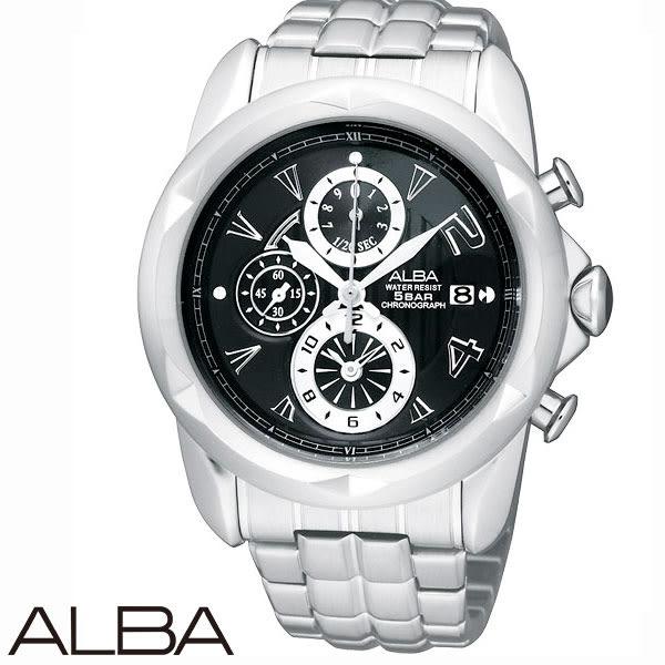 【名人鐘錶】 ALBA 龐克切割錶盤碼表黑面三眼鋼帶腕錶・公司貨・YM92-X189C・SEIKO副牌