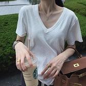 寬鬆韓版百搭純棉上衣內搭打底衫短袖T恤女v領【聚物優品】
