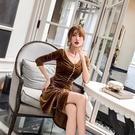 小禮服 2020新款夏裝法式復古抽繩系帶金絲絨收腰顯瘦打底連衣裙女