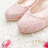 現貨 MIT小中大尺碼新娘婚鞋推薦玫瑰女神 花朵蕾絲真皮腳墊高跟鞋21-26EPRIS艾佩絲-甜美粉 閃耀粉