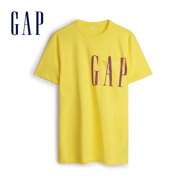 Gap 男裝 棉質舒適圓領短袖T恤 546293-亮檸檬黃色