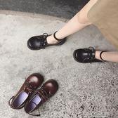 日繫圓頭平底娃娃鞋女英倫學院風環腳一字扣學生小皮鞋繫帶單鞋潮color shop