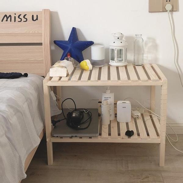 ins簡易床頭櫃實木北歐風臥室飾品排骨置物架子落地飄窗收納架桌 【618特惠】