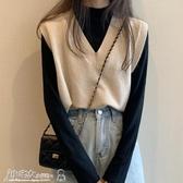 毛衣背心 秋季2020年新款V領上衣針織馬夾初秋毛衣背心短款無袖馬甲外套女 小宅女
