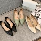 平底單鞋女2020春夏季新款百搭低跟尖頭淺口軟皮工作鞋淑女四季鞋