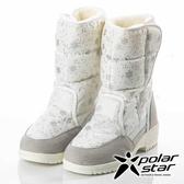 【PolarStar】女雪花保暖雪鞋『白』P18632 (冰爪 / 內厚鋪毛 /防滑鞋底) 雪靴.雪鞋.賞雪.滑雪