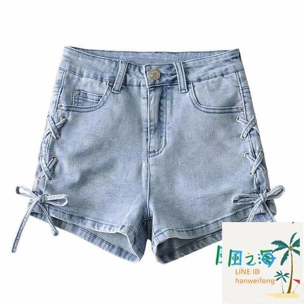 側邊綁帶高腰牛仔短褲女夏彈力緊身包臀復古熱褲顯瘦【風之海】