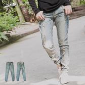 牛仔褲--休閒百搭刷破仿舊感中腰直筒牛仔長褲(XL-7L)-N98眼圈熊中大尺碼◎