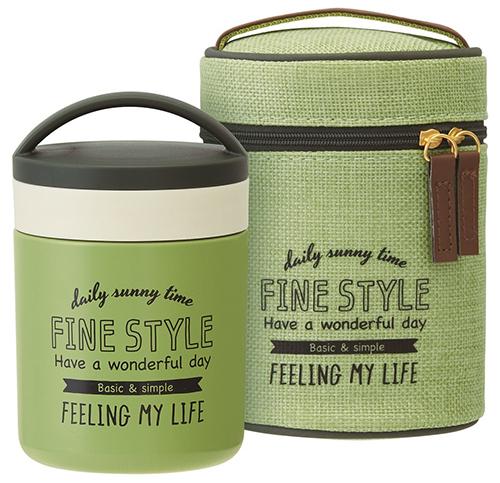 Fine style【日本代購】和式 保溫罐 保冷 午餐盒 二重真空 0.3L附提袋LJFC3-二色
