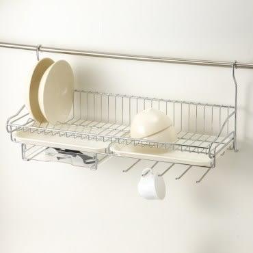 特力屋不鏽鋼壁掛式單層碗盤架附抽屜5勾