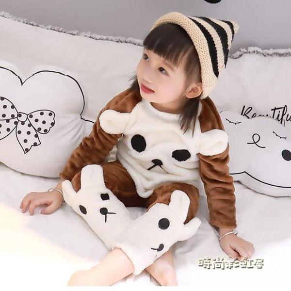 寶寶睡衣秋冬1一3歲女童法蘭絨套裝2加厚4可愛男小童珊瑚絨家居服「時尚彩虹屋」