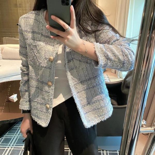 外套 长袖 百搭外套韓版小香風名媛時尚洋氣百搭長袖短外套開衫上身女NE68-A1 胖妞衣櫥