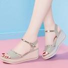 楔形鞋 2021年夏季羅馬涼鞋仙女風新款百搭時尚高跟坡跟厚底舒適百搭女 韓國時尚 618